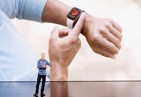 The new Apple Watch Series 4 is now an FDA-cleared class 2 medical device that can detect falls and adds advanced heart monitoring capabilities. (Photo by NOAH BERGER/AFP/Getty Images)